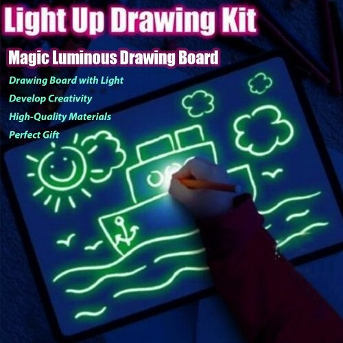 Magic Luminous Drawing Board With Light-Fun Sketchpad Board Fluorescent Pen Light Drawing Pad for Kids Painting Board Educational Toy and Developing Drawing or Writing Skills