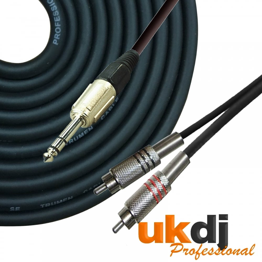 medium resolution of ukdj 3m 6 35mm 1 4 inch jack stereo to 2 x rca phono cable audio lead hq