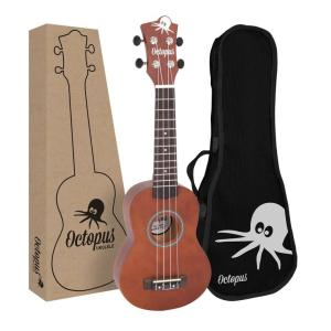Octopus Natural Series Soprano Ukulele Matt Brown Natural With Box