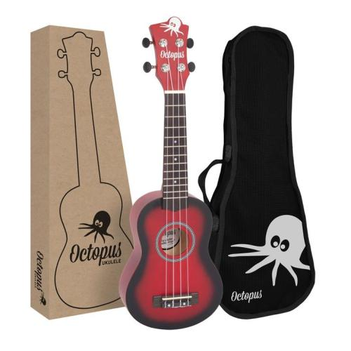 Octopus matt burst series soprano ukulele Red burst With Box