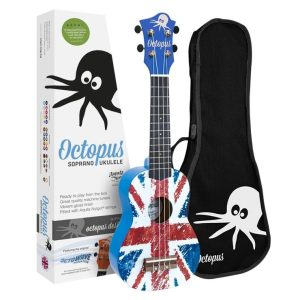 Octopus concert ukulele bag ~ Aztec blue