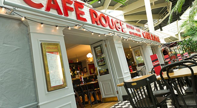 Café Rouge - It's lovely in the Plaza in the evening as there are lots of pretty coloured lights lighting up the trees.