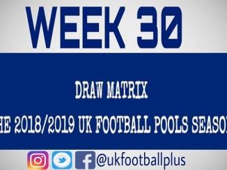 Week 30 football pools draws (uk football plus)