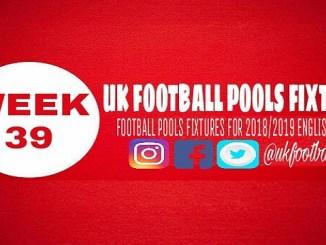 Week 39 football pools fixtures