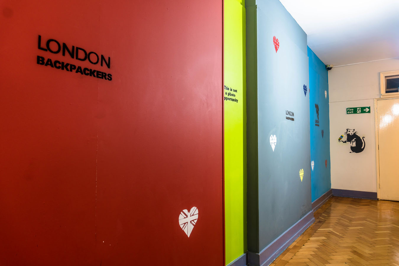 Cheap London Hostel Vibrant Wall