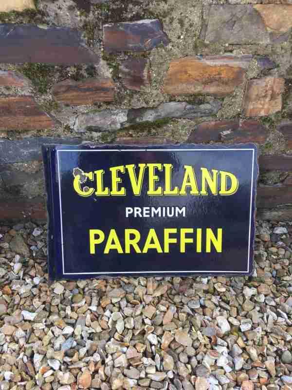 Vintage Cleveland Paraffin Enamel Sign - Uk Restoration