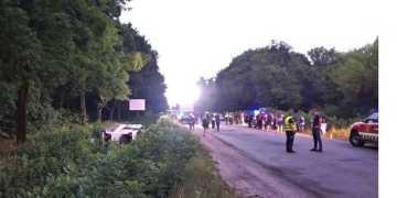 حادث حافلة طابقين متجهة الى ريفني