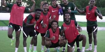 منتخب السعودية لكرة القدم تحت 23 سنة في يجري تمرينه الاخير قبل المباراة الافتتاحية الأولمبية