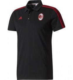 2017-2018 AC Milan Adidas 3S Polo Shirt (Black)