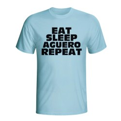 Eat Sleep Aguero Repeat T-shirt (sky Blue) - Kids