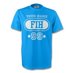 Faroe Islands Fih T-shirt (sky Blue) + Your Name