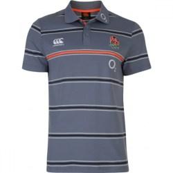 2016-2017 England Rugby Cotton Stripe Polo Shirt (Folkestone Grey)