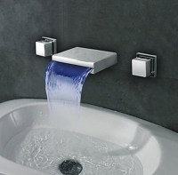 Widespread Wall Mount Waterfall 3 Colors LED Bathroom Sink ...