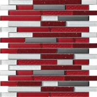 Red, White, Grey & Chrome Rectangular Mosaic Tiles in ...
