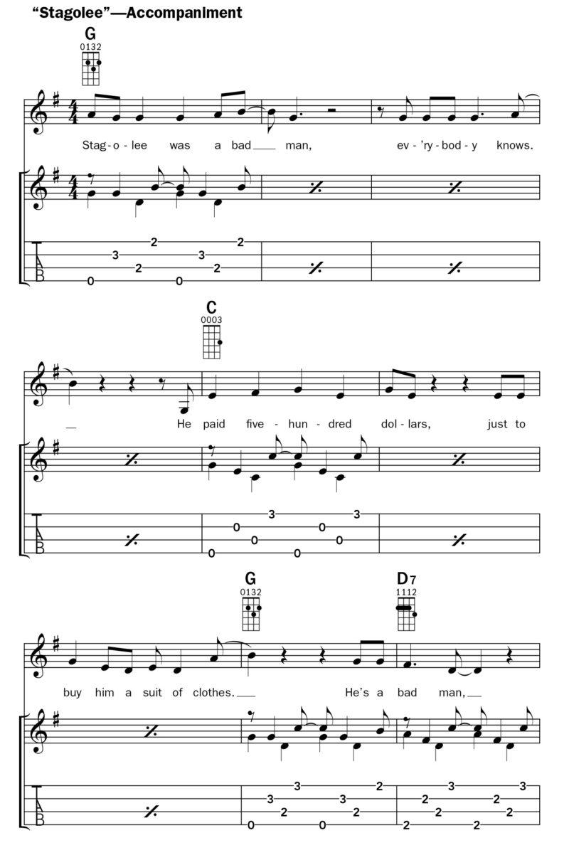 Stagolee (Accompaniment for ukulele)