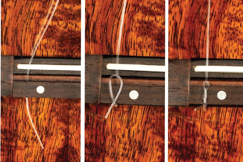 How to change ukulele strings tie strings on bridge