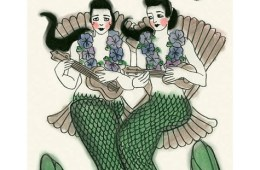 mermaid duet print playing ukuleles