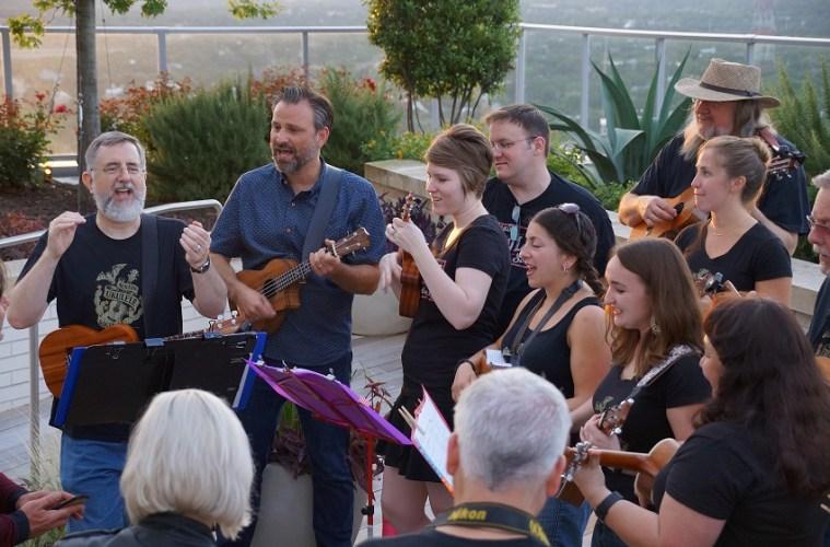 Bob Guz leads an Austin ukulele club jam.