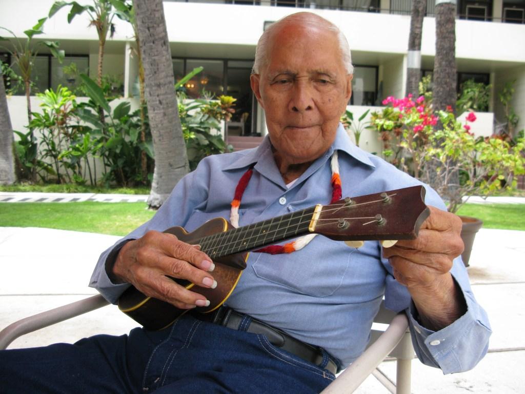 Eddie Kamae with ukulele