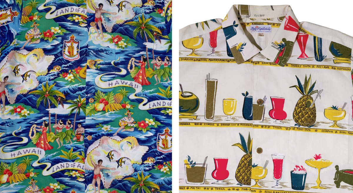 """Left, This idyllic scene was created and hand-printed in Japan and made into a shirt by Hale Hawaii. Right, Artist Nancy Hogan painted several drinks made by a bartender at the Outrigger Canoe Club for """"Okole Maluna"""" by Kahala Sportswear."""