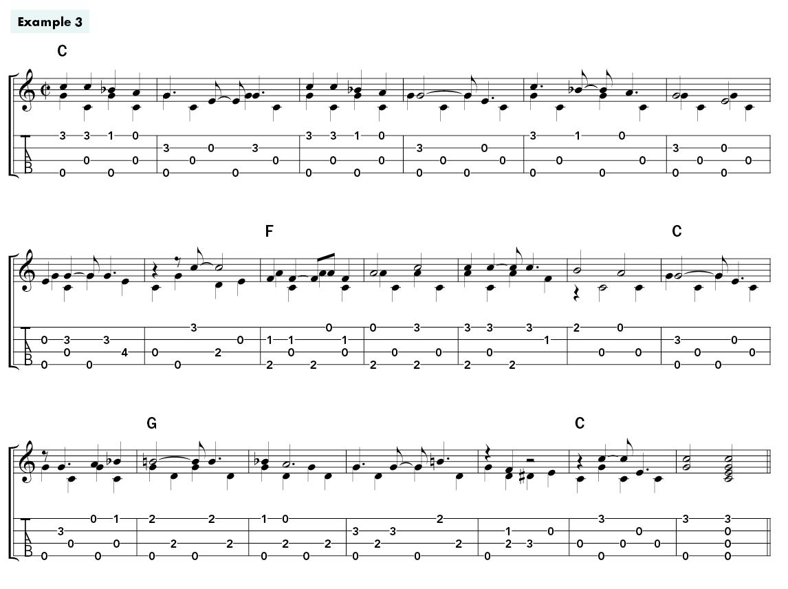Blues Fingerpicking For Ukulele Example 3