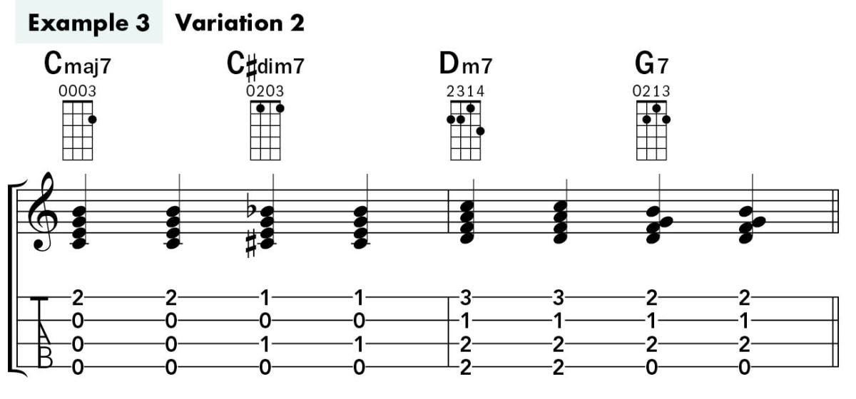Uke Chord Substitutions lesson example 3