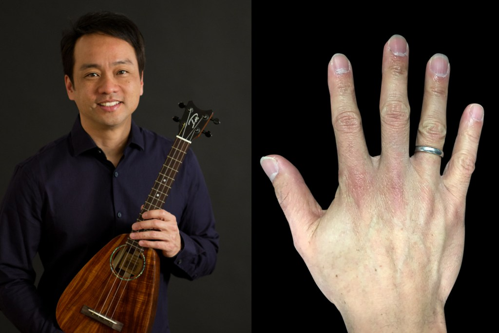 picking hands of ukulele player daniel ho