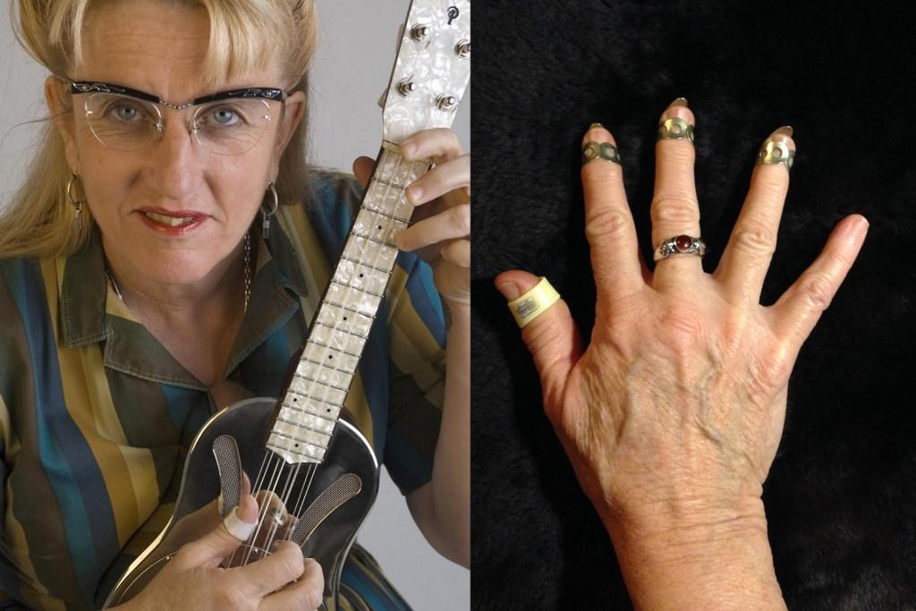 picking hands of ukulele player del rey