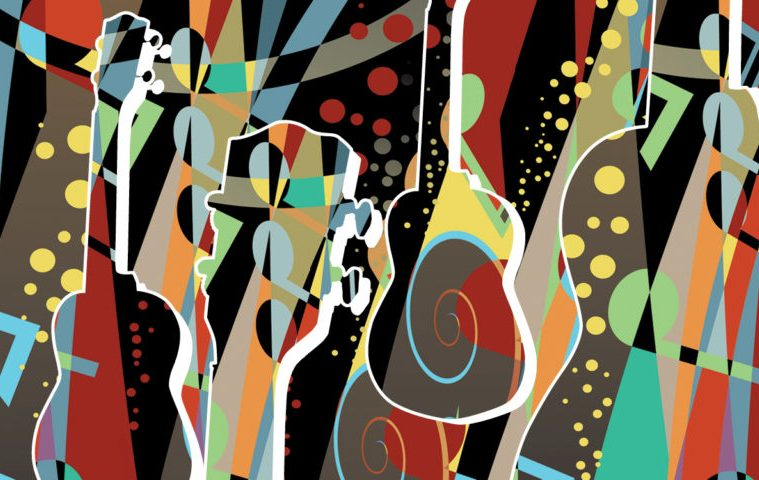jazz-inspired ukulele artwork, abstract style in many colors
