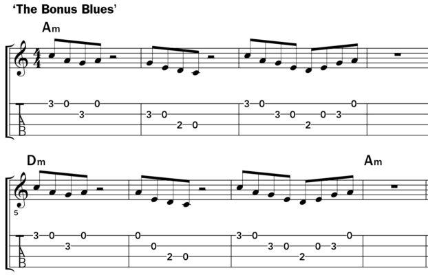 Pentatonic scale ukulele lesson music notation example 4