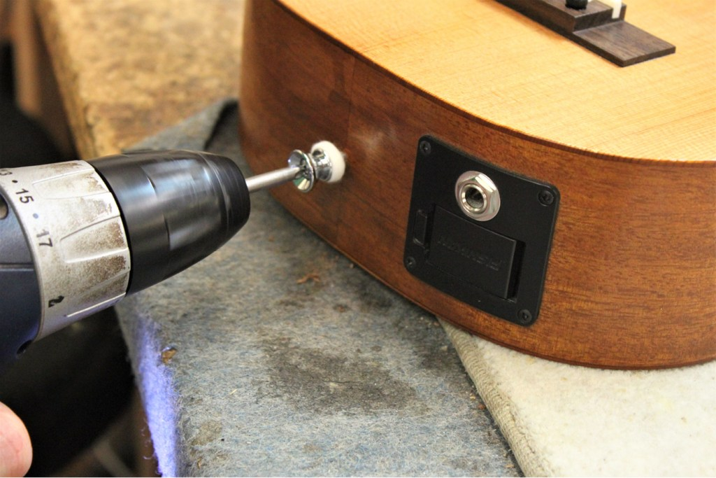 how to install a ukulele strap button on the end of a ukulele