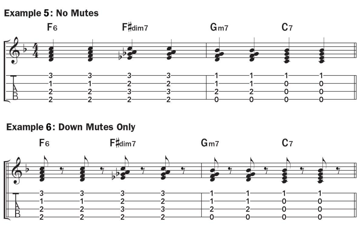 Basic ukulele technique music notation exs. 5–6, jazzy chord progression with and without muting