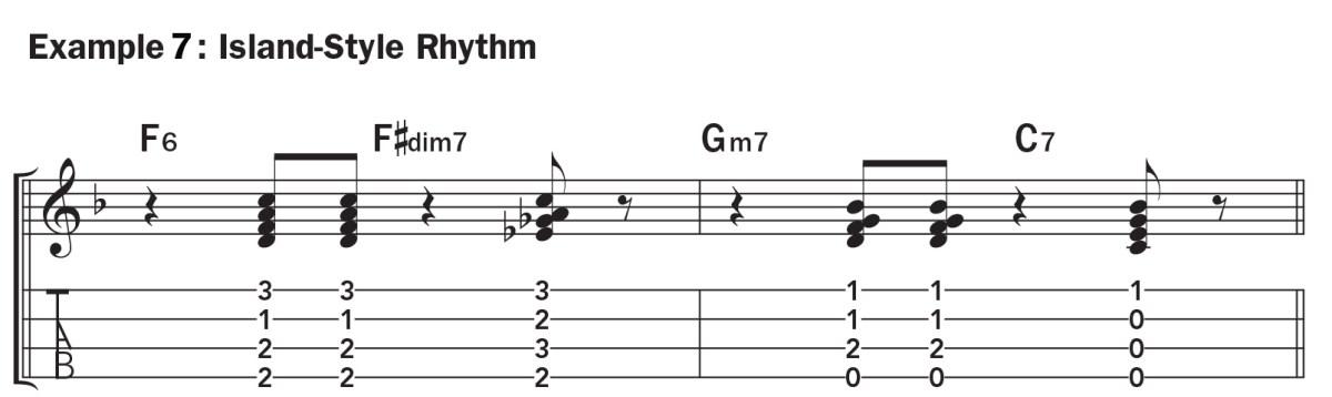 Basic ukulele technique music notation ex. 7 jazzy chord progression with island vibe