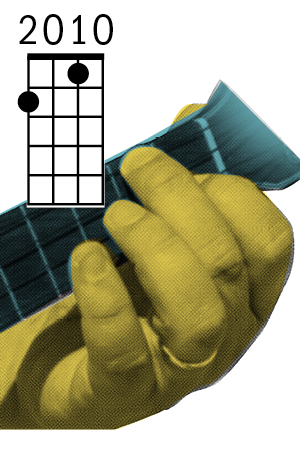 Ukulele F chord fingering diagram