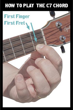 hand holding a ukulele C7 chord