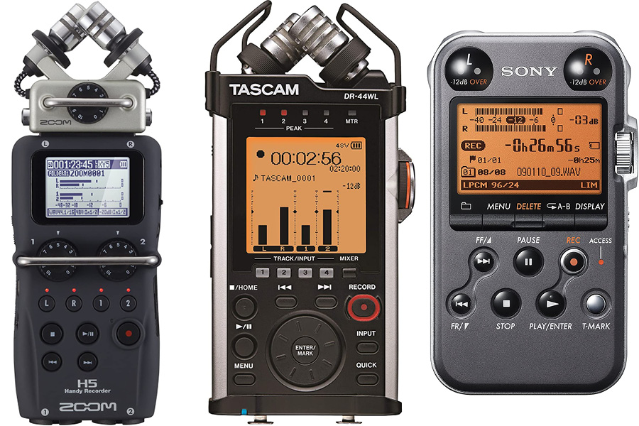 Zoom h5, Tascam dr44wl, and sony pcm-m10 flash recorders