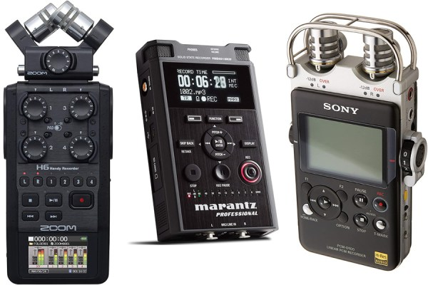 The Zoom h6, Marantz PMD661 MKIII, and Sony PMC-D100 flash recorders