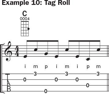 Ukulele banjo rolls example 10