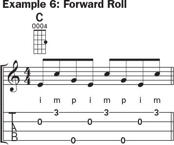 Ukulele banjo rolls example 6