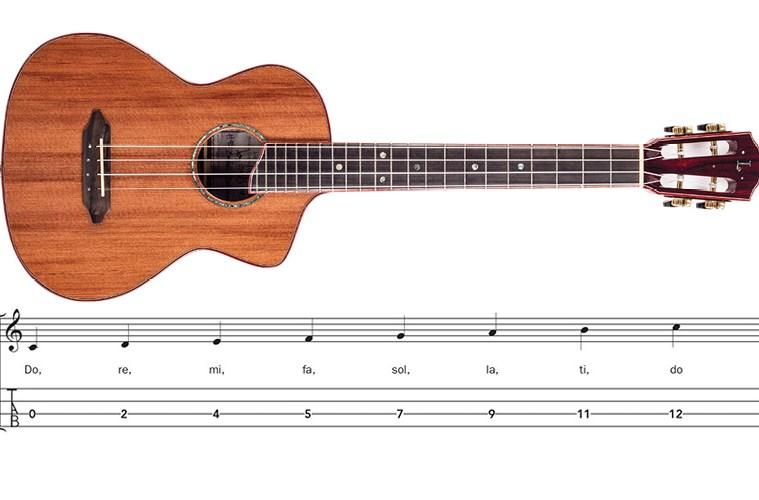ukulele and musical scale notation