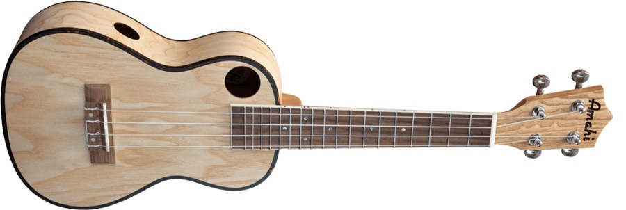 Amahi Classic uke in quilted ash, pictured on its side on a white background