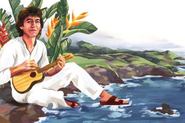 illustration of George Harrison of The Beatles playing ukulele on the beach in hawaii