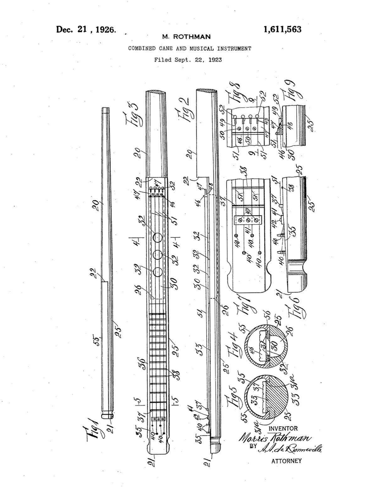 Morris Rothman's ukulele walking stick patent
