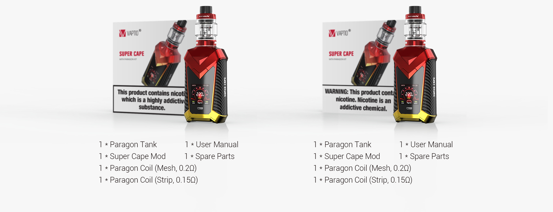 hight resolution of 1 x super cape mod 1 x paragon coil mesh 0 2 1 x paragon coil strip 0 15 1 x usb cable 1 x user manual 1 x spare part