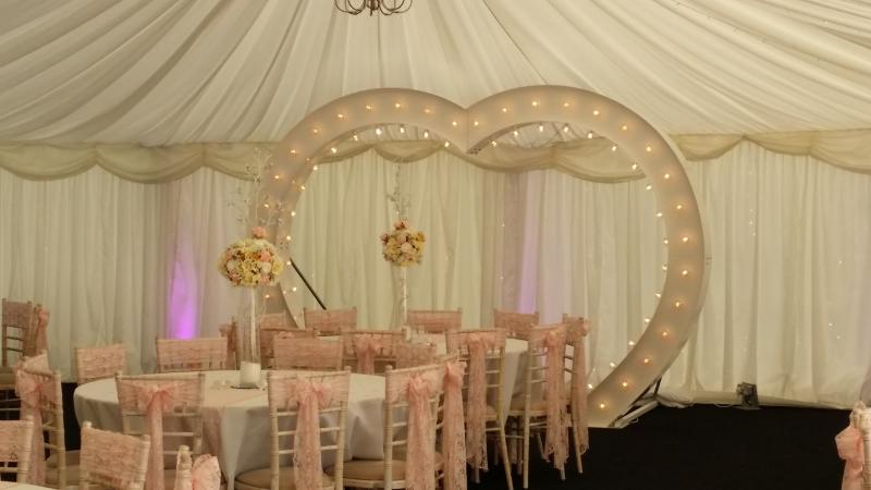 chair cover hire telford shropshire best for after back surgery elite occasions wedding venue decorators illuminated fairground love heart arch