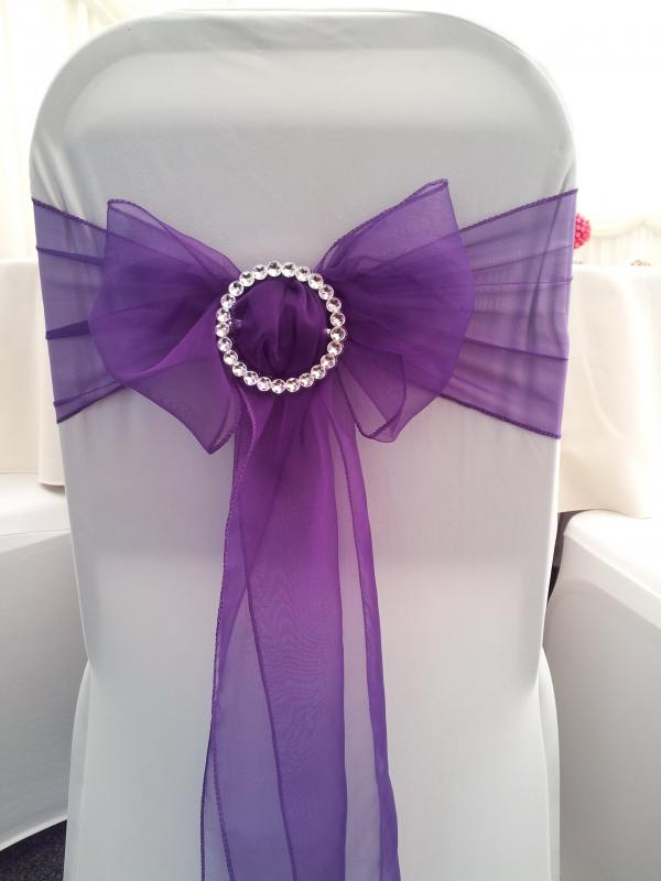 wedding chair cover hire cannock steel shot to the head carabou events balloon decorators staffordshire with purple sash chocolate fountain