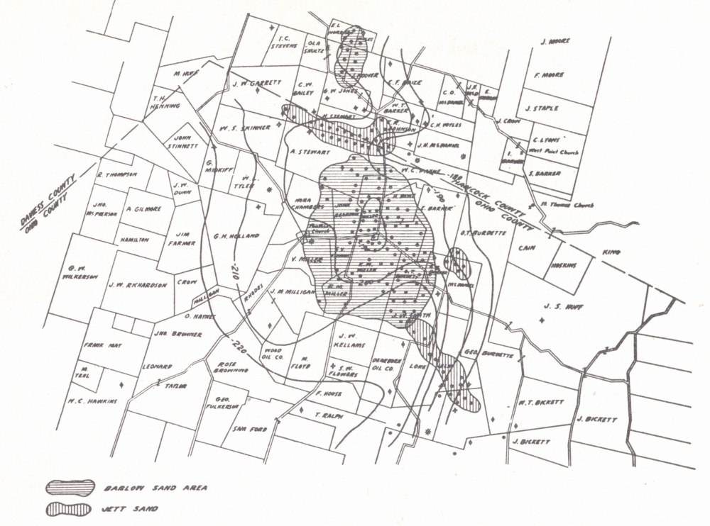 medium resolution of structure map ambrose weller pool ohio county contoured on the top of the vienna brown lime limestone shiarella 1933 the occurrence of oil i