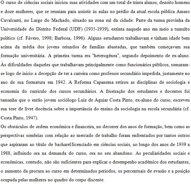 Sample Sociology document translation (Portuguese translation)