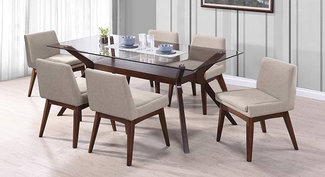 glass top kitchen table lowes copper sink wesley 6 seater dining urban ladder leon armchair set