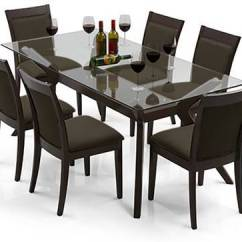 Glass Top Kitchen Table Outdoor Plans Diy Wesley 6 Seater Dining Urban Ladder Dalla Set